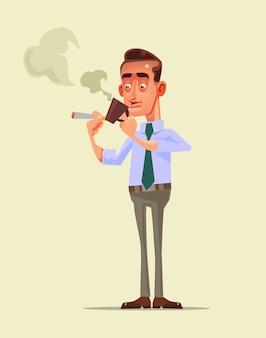 Бизнесмен офисный работник персонаж имеет перерыв на кофе с напитком и курить сигарету, расслабляясь после тяжелого рабочего дня.
