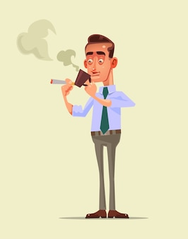 Businessman office worker character have coffee break with drink and smoke cigarette relaxing after hard work day.