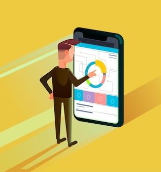 스마트 폰 온라인 비즈니스 전략을 사용하여 사업가 사무실 작업자 남자 캐릭터