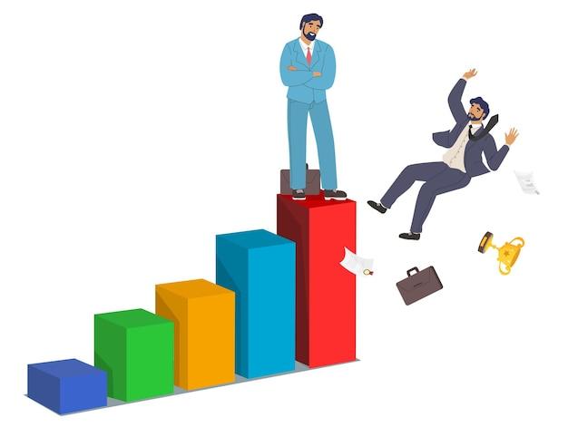 Бизнесмен, офисный работник или сотрудник, падающий с гистограммы плоской векторной иллюстрации бизнес ...