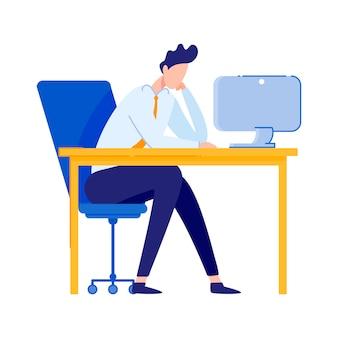 Businessman or office worker sitting at desk.