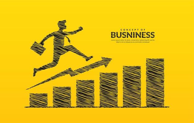 Бизнесмен на стрелке, прыгающей через препятствия на пути к успеху, диаграмма роста увеличивает инвестиции в прибыль