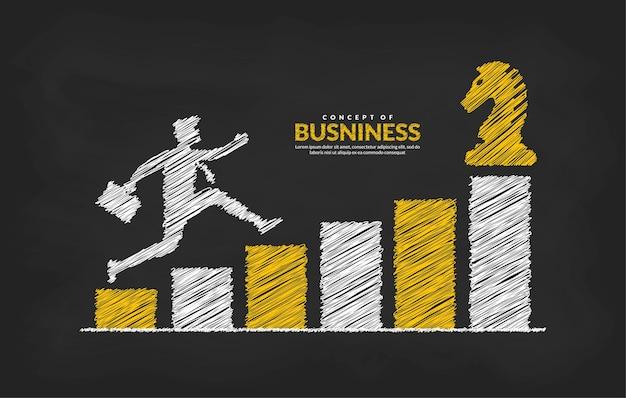 Бизнесмен на графике прыгает через препятствия на пути к успеху бизнес-риск и концепция успеха