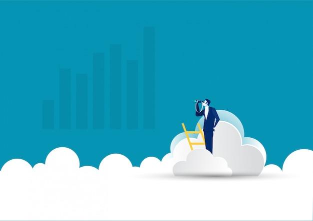 Бизнесмен на лестнице с телескопом на облаке. лидерство, возможность, вектор