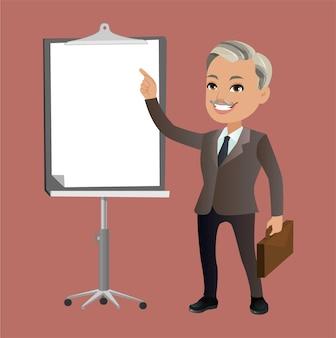 Бизнесмен на презентации дизайн вектор персонажей