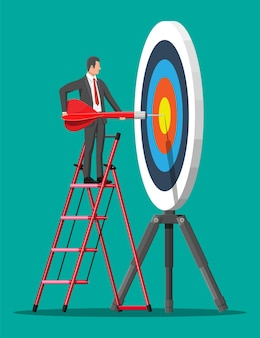 사다리에 사업가 목표 화살표를 목표로 합니다. 목표 설정. 똑똑한 목표. 비즈니스 대상 개념입니다. 경력 사다리. 성취와 성공. 평면 스타일의 벡터 일러스트 레이 션