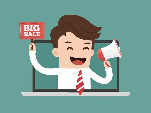 Businessman online advertising