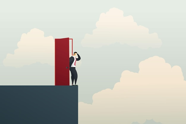 Businessman open the door on the cliff concept of business failure and career growth