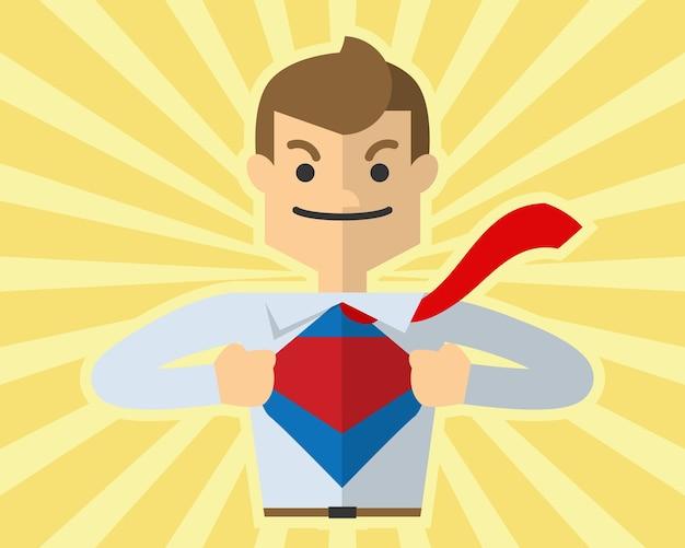 사업가 자신의 자신감을 보여주는 슈퍼 영웅, 슈퍼맨 같은 그의 셔츠를 엽니 다