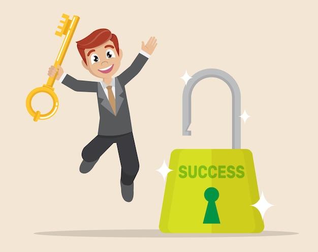 Businessman opened lock by a key.