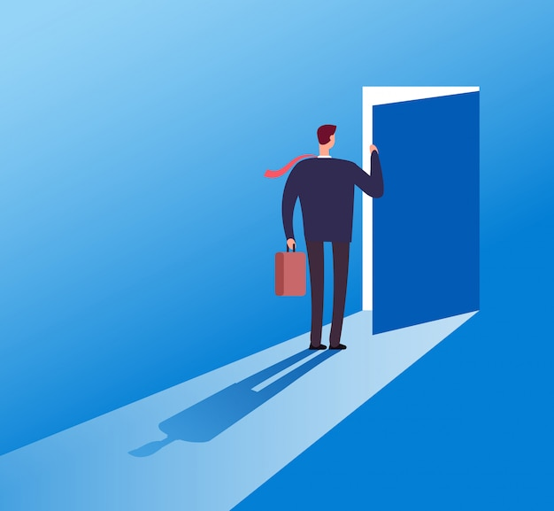 Businessman opening secret door. opportunity, accessible entering. risk solution and leadership business vector concept illustration