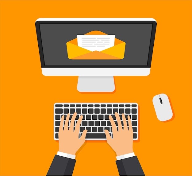Businessman opens, creates new letter on display.envelope, document on screen.new mail.overhead view Premium Vector