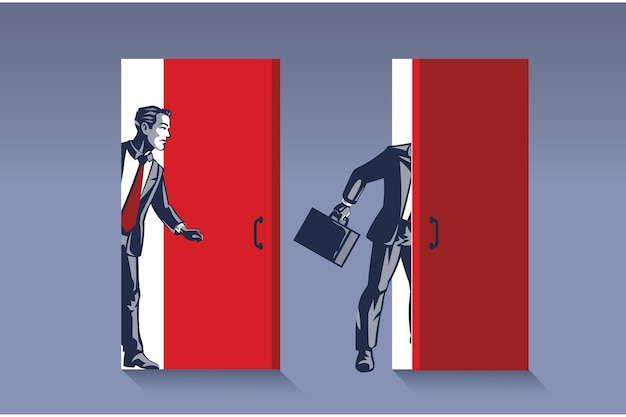 Businessman opens door. business illustration concept of new business opportunity