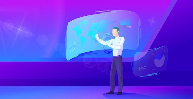 Businessman operates virtual interface ultraviolet illustration