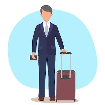 旅行用のスーツケースを持ったビジネスマンまたはマネージャー。白い背景の上の孤立したフラットイラスト。旅行と旅の概念。