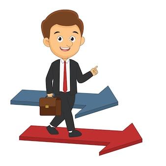Бизнесмен или менеджер продвигается по стрелке