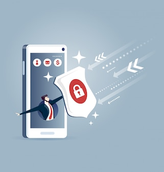 Businessman out from a smart phone with a shield - business concept
