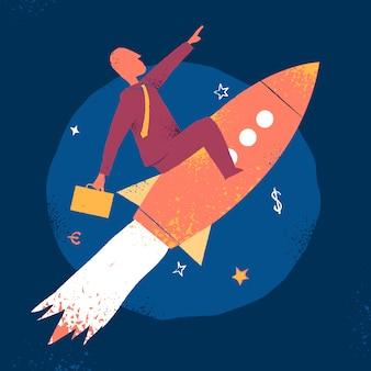 Businessman over a rocket