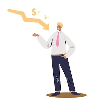 아래로 떨어지는 화살표 위에 사업가입니다. 재정 손실 및 파산 개념. 경기 침체, 위기 및 돈