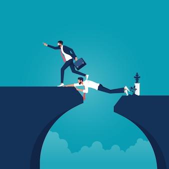 사업가는 목표 상호 지원에 도달하기 위해 다리처럼 사업가의 뒤에 심연을 극복