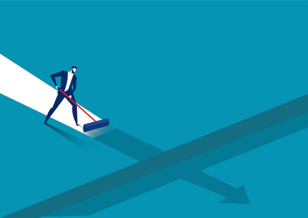 ビジネスマンは青い背景に成功への彼自身の道を描く
