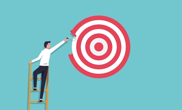 ペイントローラーで大きなターゲットをペイントするビジネスマン。野心と決意の概念のベクトル図です。