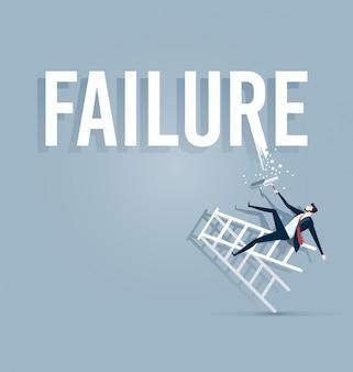 Бизнесмен рисует слово провал