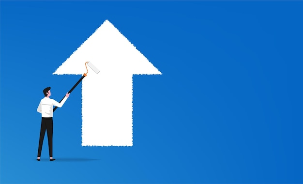 Businessman painting white arrow in forward direction