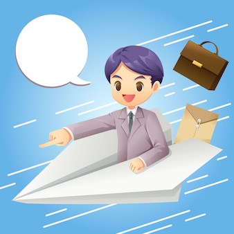 Businessman on paper plane