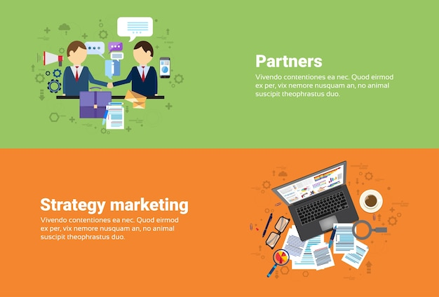 Businessman partners shake hand partnership, digital marketing strategy plan business web banner fla