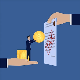 Businessman pay tax give coin hand hold paper