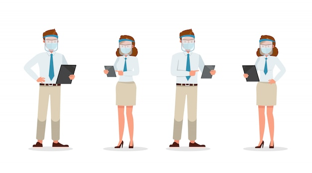 医療マスクと顔シールドのキャラクターを身に着けているビジネスマンの人々。さまざまなアクションでのプレゼンテーション。新しい通常の生活。