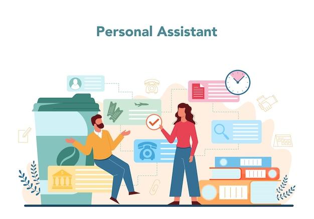 ビジネスマンの個人秘書の概念。マネージャーのための専門家の助けとサポート。