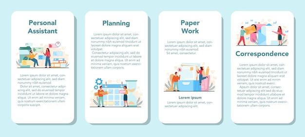 Набор баннеров мобильного приложения личного помощника бизнесмена