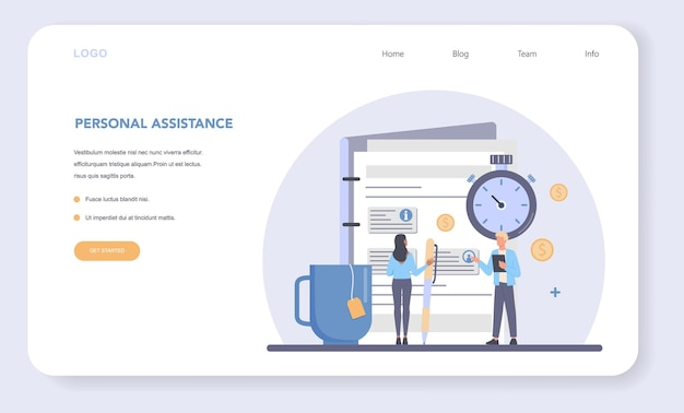 Businessman personal assistant web banner or landing page.