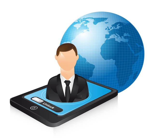 Businessman over phone and planet vector illustration