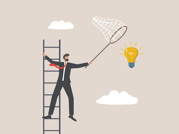 Бизнесмен, собирающий большую идею в небе, бизнес-концепция