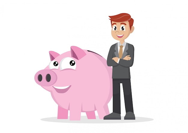Businessman and piggy bank.