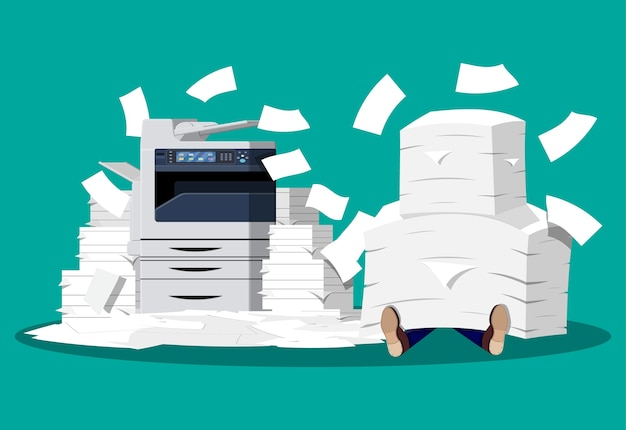 Businessman in pile of papers. office multifunction machine