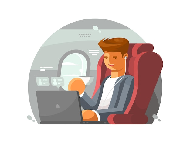 Businessman on plane. man in first class with laptop.  illustration