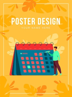 Businessman planning events, deadlines and agenda poster template
