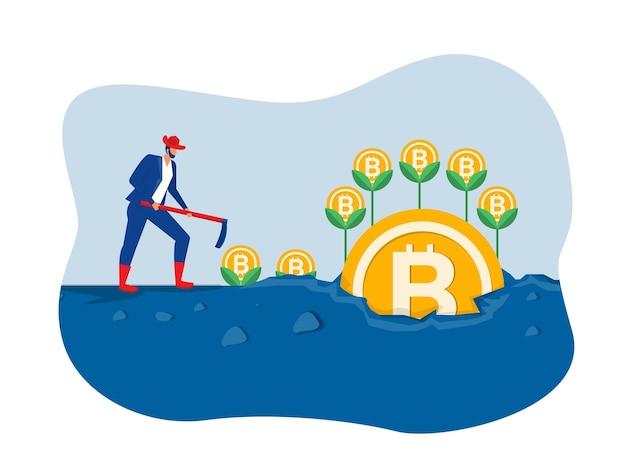 Бизнесмен завод bitcoin рост дерева иллюстрации концепции вектор иллюстратор
