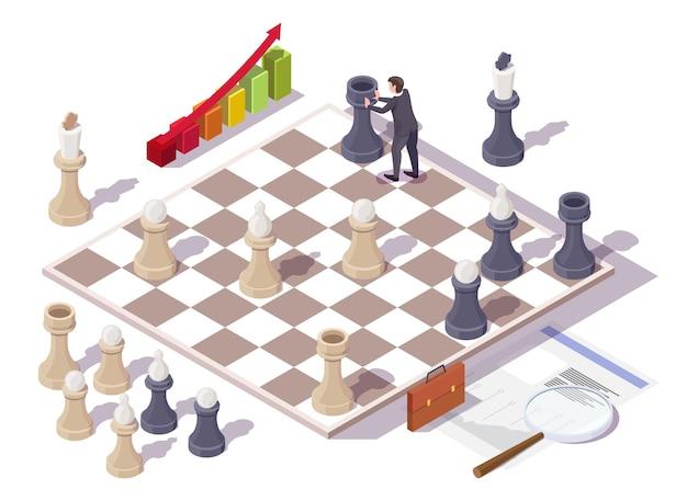 Бизнесмен, играя в шахматную настольную игру вектор изометрической иллюстрации концепции бизнес-стратегии