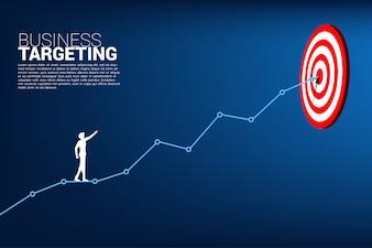 бизнесмен указывает на дартс на линейном графике к центру