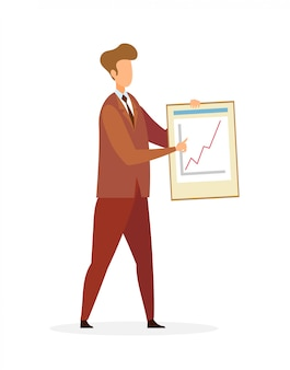 Businessman pointing at graph growth character