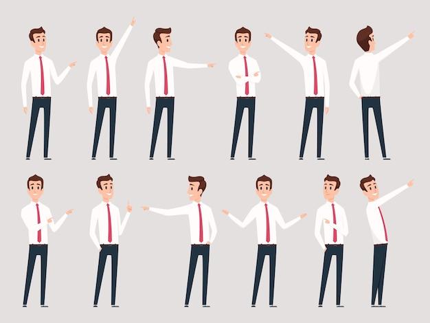 사업가 가리키는입니다. 서 관리자 남성 노동자와 손가락 성공적인 사람 벡터 문자를 가리키는 방향. 그림 사업가 서 및 현재 표시