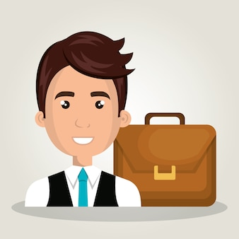 Businessman portfolio suitcase work