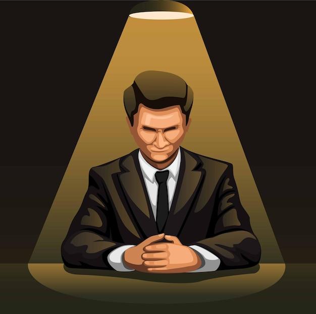 漫画イラストの尋問の概念のための暗い部屋でスポットライトの下で実業家の肖像画