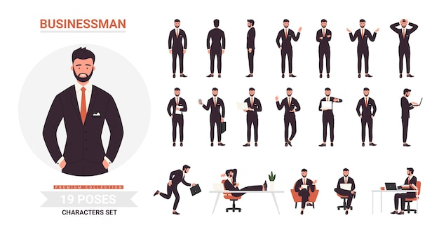 ビジネスマンは漫画セットをポーズします