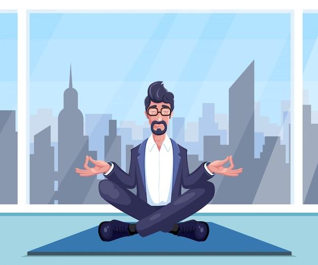 Businessman practices yoga